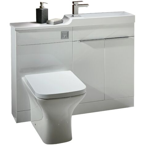 1000mm Toilet Bathroom Vanity Unit Combined Basin Sink Furniture Gloss White