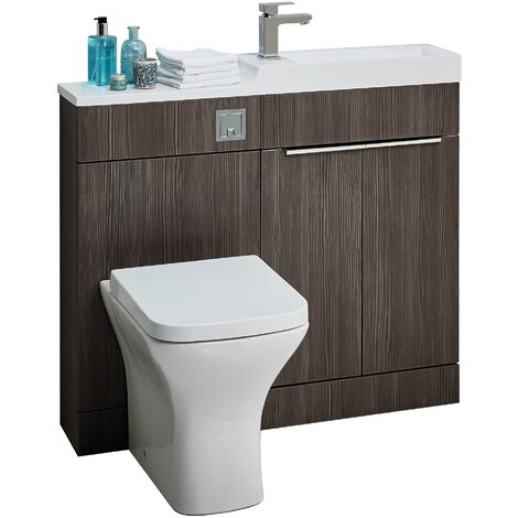 1000mm Toilet Bathroom Vanity Unit Combined Basin Sink Furniture Grey Finish