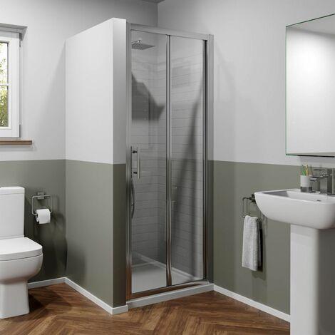 1000mm x 700mm Bi Fold Shower Door Walk In Enclosure Framed 6mm Glass Stone Tray