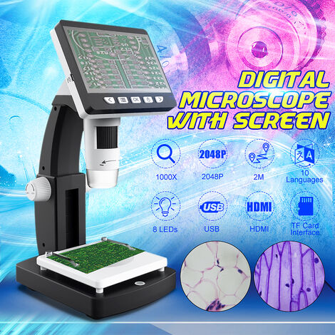 1000X HD 1080P 8 LED Microscopio digital portátil de escritorio LCD Altura ajustable con pantalla