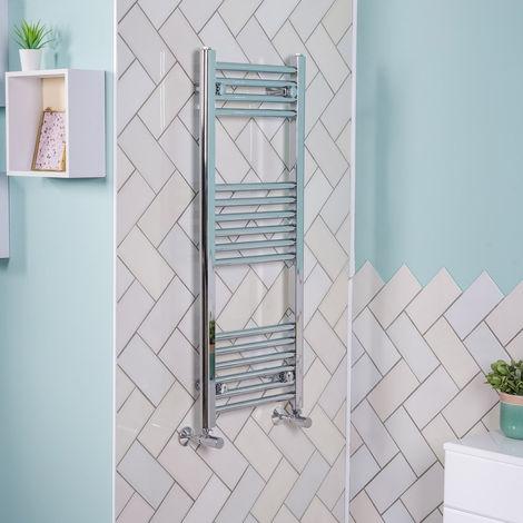 1000x395 Straight Central Heating Towel Rail Bathroom Heated Rad Radiator Chrome