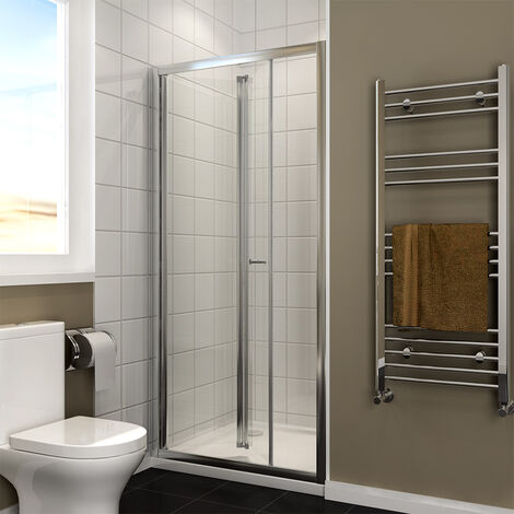 1000x700mm Bifold Shower Enclosure 1000mm Reversible Folding Glass Shower Cubicle Door with Shower Tray Set