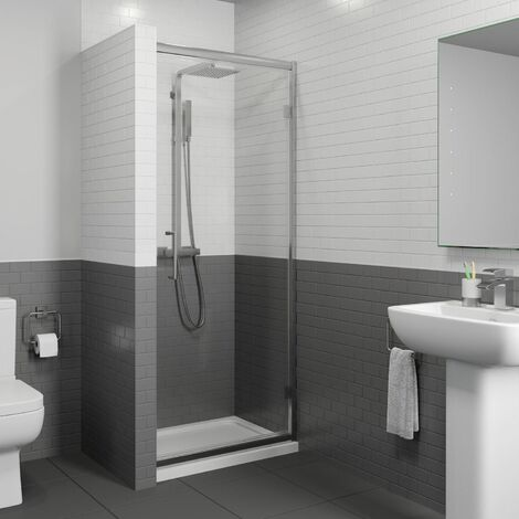 1000x700mm Framed Hinged 8mm Bathroom Shower Door Enclosure Walk-In Tray Waste