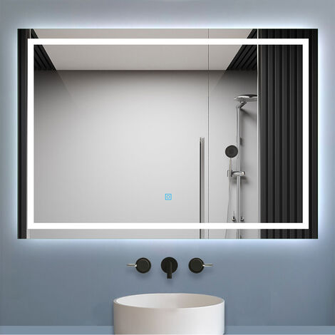 """main image of """"700x500mm Bathroom Mirrors with LED Lights Illuminated Backlit Wall Mount Light Up Mirror Dimmable Switch Horizontal/Vertical Heated Pad Demister"""""""