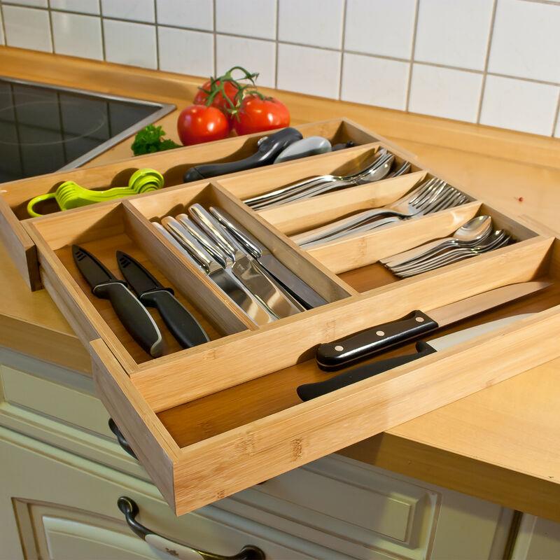 bamb/ú Bandejas de cubiertos ancho extensible 30-48 cm Relaxdays 10016742