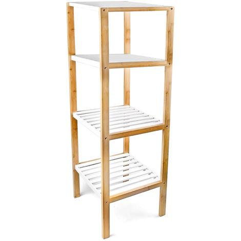 10017161 - Estantería de bambú, 4 niveles, para baño, bambú, 110 x 33 x 34 cm
