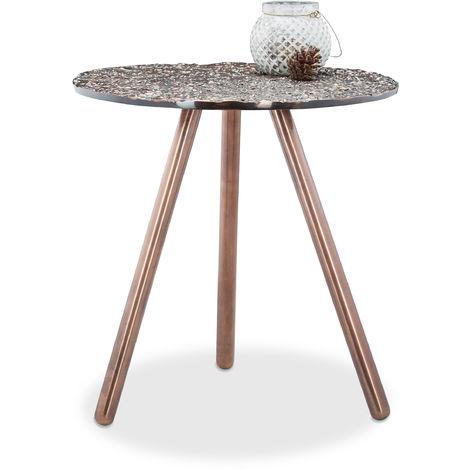Tavolino Rotondo Da Salotto Antico.10021130 Tavolino Da Salotto Tre Gambe In Metallo Rame Stile