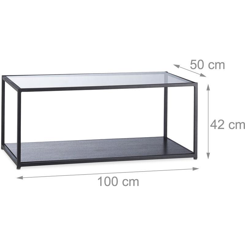 Ripiano in Vetro Tavolo da Salotto Relaxdays Tavolino da Divano Rettangolare 42x100x50 cm Struttura in Metallo Nero