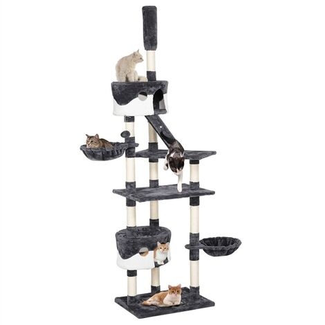 100.5-inch Large Cat Tree Condo Multiple Level Cat Towers 2 Condos & 2 Baskets & Scratching Posts & Ladder & Fur Balls Height Adjustable 90¡¯¡¯-100.5¡¯¡¯ Dark Gray & White