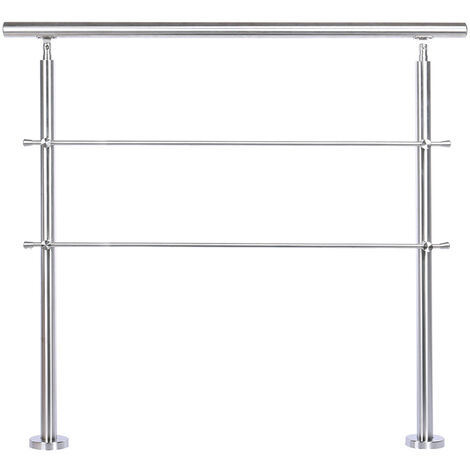 100CM Handrail Stainless Steel Balustrade with 2 Crossbars Stair Rails