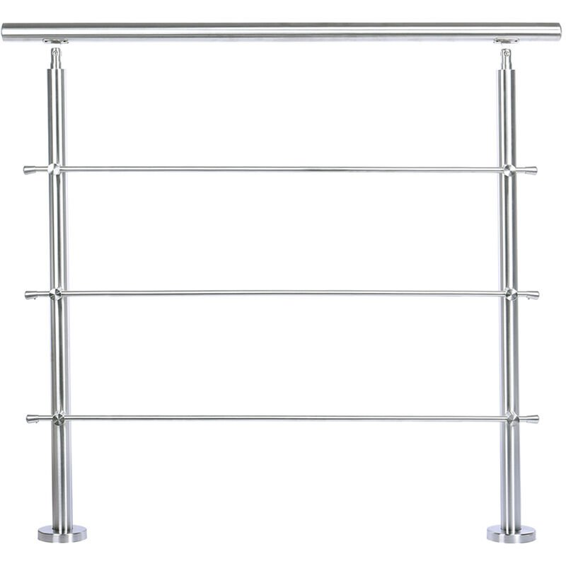 Image of 100CM Handrail Stainless Steel Balustrade with 3 Crossbars Stair Rails