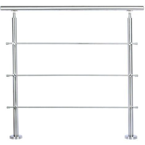 100CM Handrail Stainless Steel Balustrade with 3 Crossbars Stair Rails