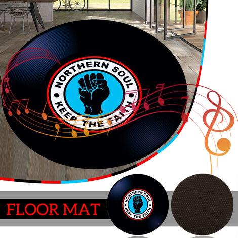 100cm modern vinyl record floor mat round carpet yoga mat living room area home decor (100cm 3 pattern)