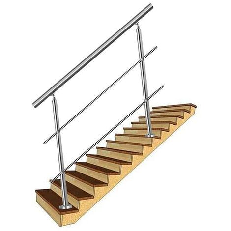 100cm Rampe d'escalier Main Courante Murale Garde-corps en Acier Inoxydable Baguettes Terrasse Kit Escaliers pour les Escaliers et Marches