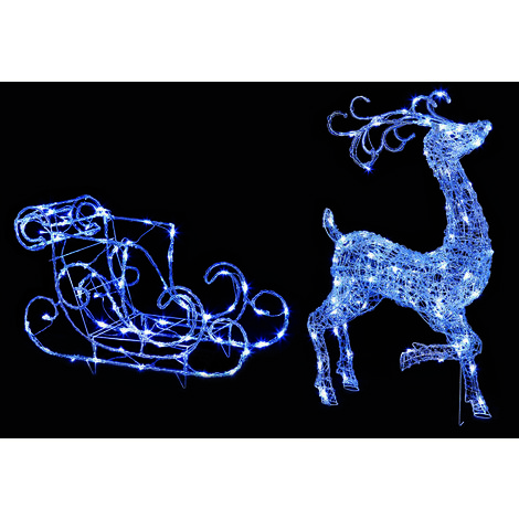 100cm Reindeer and Sleigh with 140 White LED's - 2 Piece Set