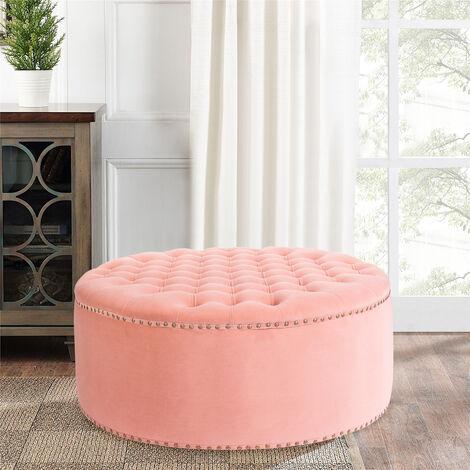 100CM Round Frosted Velvet Ottoman Footstool