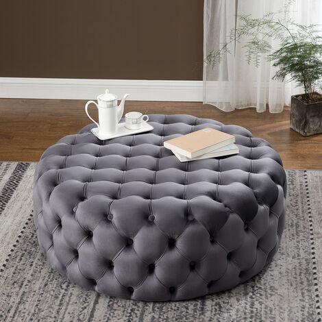 100CM Round Velvet Buttoned Footstool, Grey