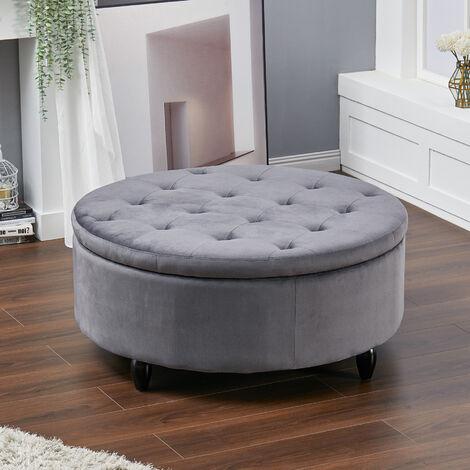 100CM Round Velvet Storage Footstool