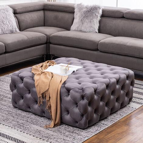 100CM Square Velvet Buttoned Footstool, Grey