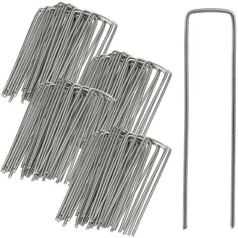 100er Set Bodenanker, Rostbeständig, Angeschrägte Enden, Zum Einschlagen, 15 cm lang, Verzinkter Stahl, Erdanker, Silber