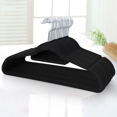 100er Set Kleiderbügel Samt Anzugbügel Anti-Rutsch Jackenbügel mit 360°drehbarer Haken, Schwarz