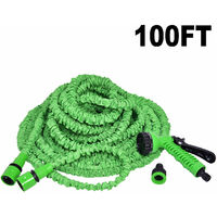 100FT EXPANDABLE FLEXIBLE GARDEN HOSE PIPE 3x EXPANDING WITH SPRAY GUN NEW UK