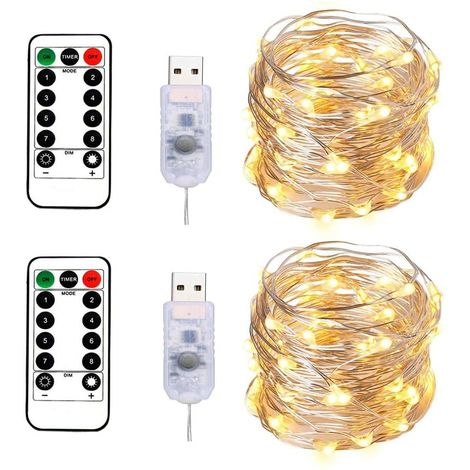100LEDs Micro Fairy Lights 10M Silver Wire with USB Remote Control 8 Program and Timing Dimming LED Lights for Party, Christmas, Wedding, Lighting Decoration Pack of 2 (Warm White)