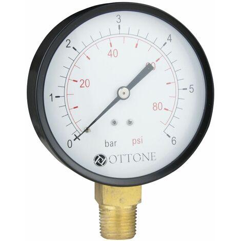"""100mm 4 bar de l'eau de l'huile de l'air du manomètre mètre 1/2 """"bspt entrée latérale manomètre"""