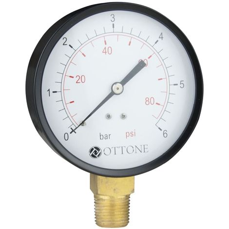 "100mm 6 Bar Pressure Gauge Air Oil Water Meter 1/2"" BSPT Side Entry Manometer"
