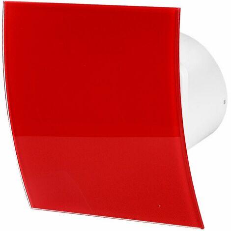 100mm Humidité Detecteur Hotte Ventilateur Verre Rouge Brillant Panneau Avant Escudo Mur Plafond Ventilation