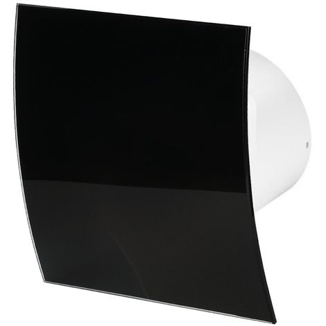 100mm Standard Extractor Fan Shiny Black Glass Front Panel ESCUDO Wall Ceiling Ventilation