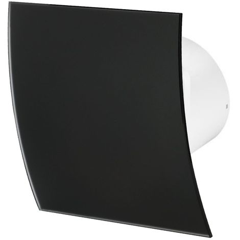 100mm Timer Extractor Fan Matte Black Glass Front Panel ESCUDO Wall Ceiling Ventilation
