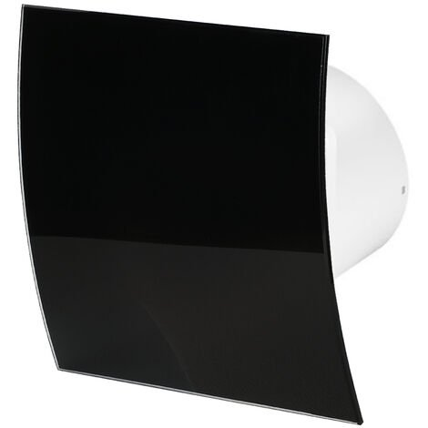 100mm Timer Hotte Ventilateur Verre Noir Brillant Panneau Avant Escudo Mur Plafond Ventilation