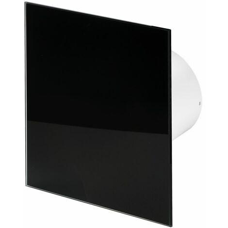 100mm Timer Hotte Ventilateur Verre Noir Brillant Panneau Avant TRAX Mur Plafond Ventilation