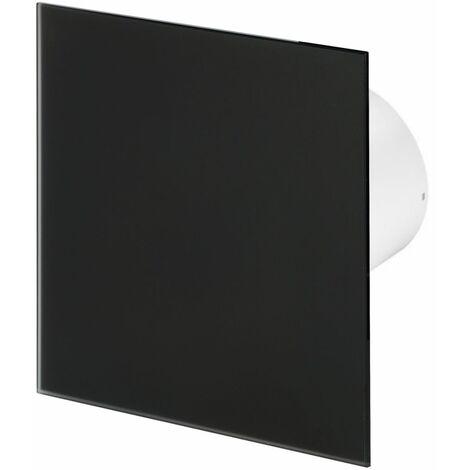 100mm Timer Hotte Ventilateur Verre Noir Mat Panneau Avant TRAX Mur Plafond Ventilation