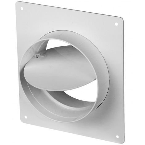 100mm Wall Mounted Flange Anti Backdraft Damper White PVC Round Grille