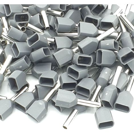 """main image of """"100pcs 0.75mm Grey Dual Bootlace Crimp Ferrules Insulated Cord End Terminal"""""""