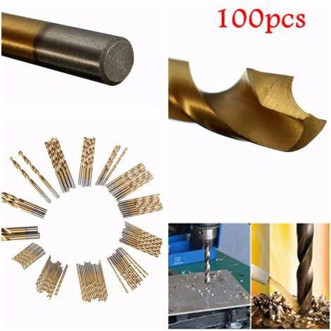 100pcs 1.5mm-10mm Acero de alta velocidad recubierto de titanio HSS Juego de brocas giratorias de acero de alta velocidad Madera / Plástico / Metal Vástago hexagonal Herramienta manual de bricolaje