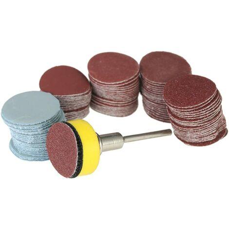 """100PCS 25mm 1"""" Disque de Ponçage disque 100-3000 Papier de Grain avec 1inch Plaque de Tampon Abrasif Polonais + 1/8"""" Tige pour Outil Rotatif Dremel"""