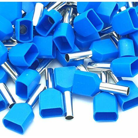100pcs 2.5mm bleu double embouts de sertissage terminale de cordon isolé