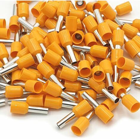 "main image of ""100pcs 4mm Insulated Orange Single Cord End Terminal Crimp Bootlace Ferrules"""