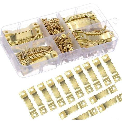 100Pcs Cintre Photo Attache Cadre Accroche Tableau Photo crochet en metal dorée solide et durable-crochet pour cadre/photo/toile/peinture/horloge/diplôme