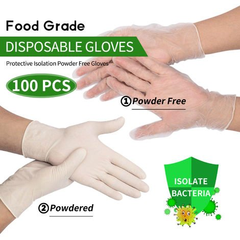 100Pcs Disposable Gloves Latex Rubber Gloves