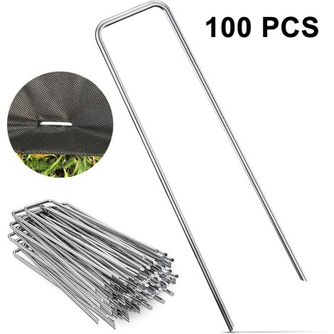 100PCS ground nails Galvanized lawn nails U-shaped for fixing artificial turf ground cloth weed fleece ground nails, style 2