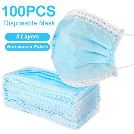 100Pcs Masques De Protection Jetable Anti-poussière