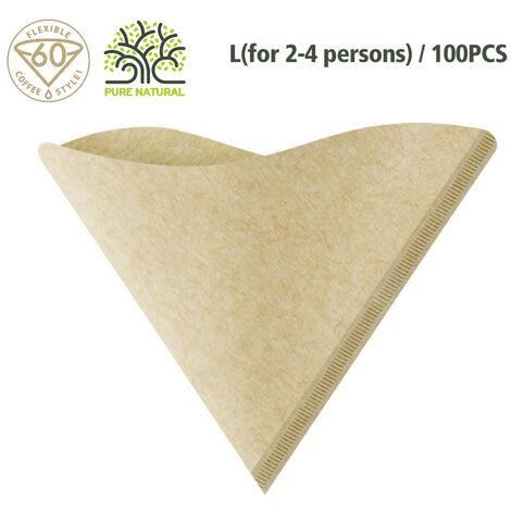 100Pcs / Set V-Forme Goutte A Goutte Papier Cafe Biologique En Bois Poudre Filtre Papier Goutte A Goutte Cafetiere Filtre Papier Accessoires Cafe, 2-4 Personnes