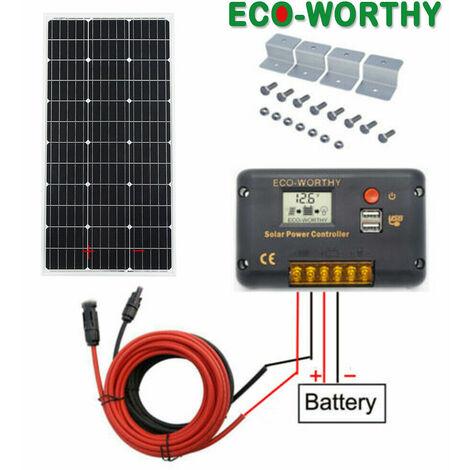 100W Kit de panel solar de módulo solar de Controlador de carga de 20A Fuera de la red para exteriores con conexión USB