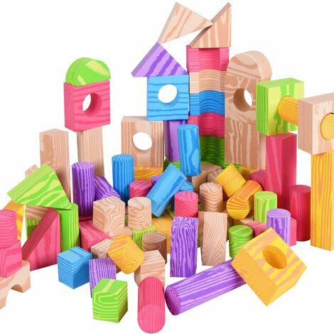 100x Briques de construction enfant - Blocs jeu de construction Sac rangement inclus Mousse plastique imitation bois - Maison Enfants Jouets