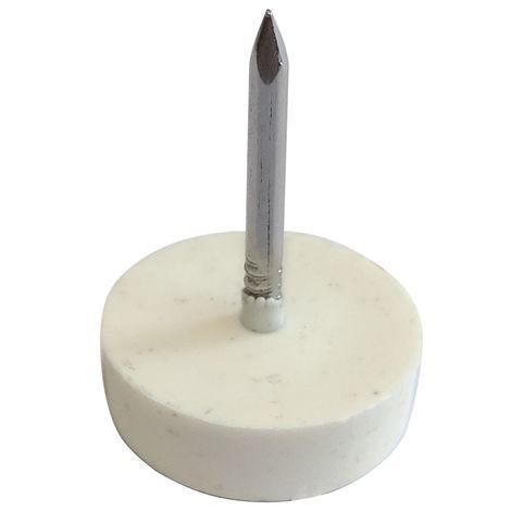 100x Patin à clouer Ø15mm rond en plastique blanc