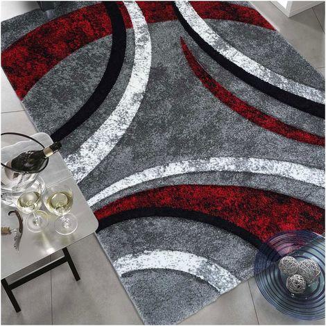 100x100 carre 100x100 - UN AMOUR DE TAPIS - Tapis Carré - Tapis Salon Moderne Design Contemporian Poils Ras - Tapis Chambre Turquoise - Tapis Rouge Gris Noir